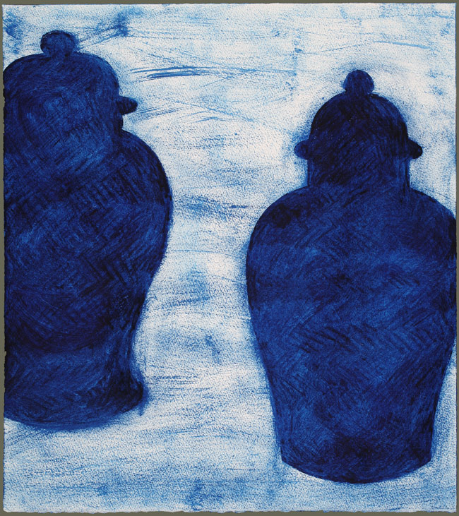 Two Prussian Blue Ginger Jars
