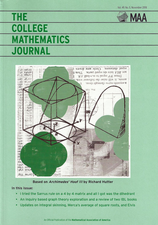 College Mathematics Journal #49-5 cover